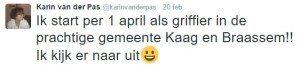 Karin van der Pas op Twitter over haar nieuwe baan.